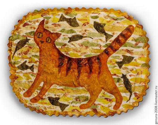 Животные ручной работы. Ярмарка Мастеров - ручная работа. Купить Кошка. Handmade. Оранжевый, панно на стену, декоративное панно, кошка
