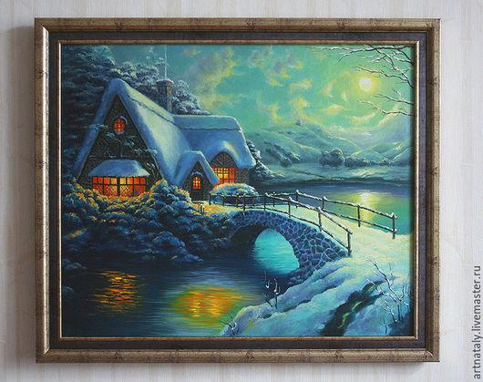Картина маслом `Рождественская сказка` (масло, холст 50х60) Автор: Ермакова Наталья (Nataly)