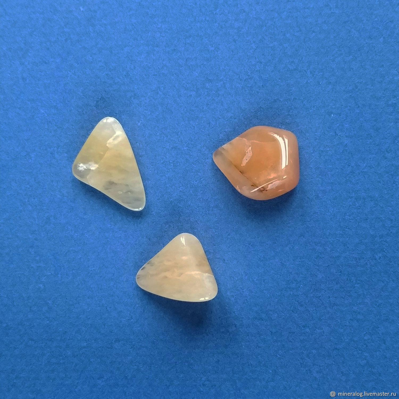Авантюрин желтый и персиковый, натуральный камень галтовка, Минералы, Москва,  Фото №1