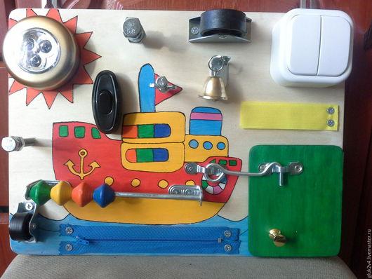 Развивающие игрушки ручной работы. Ярмарка Мастеров - ручная работа. Купить Бизиборд-мини Катерок. Handmade. Комбинированный, развивающие игрушки