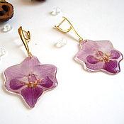 Украшения handmade. Livemaster - original item Earrings with Real Purple Orchid Flowers Korean Accessories. Handmade.