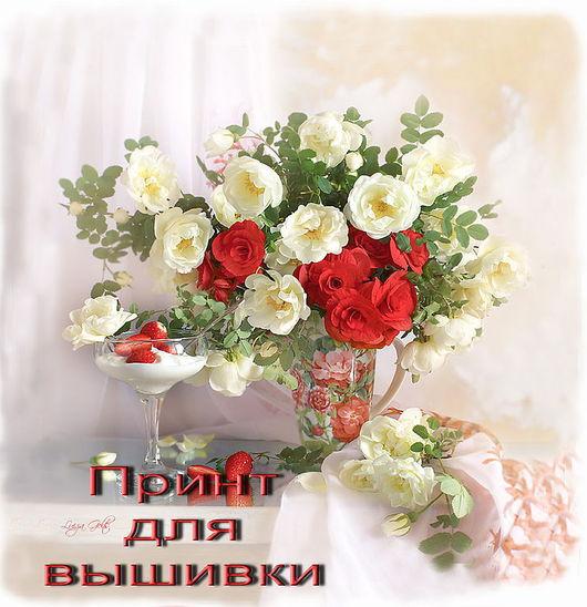 """Вышивка ручной работы. Ярмарка Мастеров - ручная работа. Купить Вышивка лентами """"Красно-белые розы"""", набор. Handmade."""