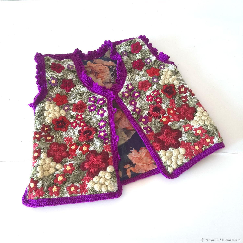 Жилеты: Объёмная вышивка цветами на одежде, на заказ, Жилет, Москва,  Фото №1