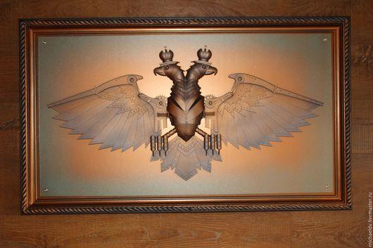 Животные ручной работы. Ярмарка Мастеров - ручная работа. Купить Двуглавый орел в стиле стимпанк. Handmade. Панно, стимпанк