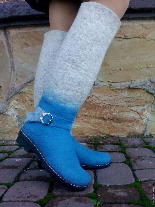 """Обувь ручной работы. Ярмарка Мастеров - ручная работа. Купить сапожки-валенки """"Снежки"""". Handmade. Голубой, сапоги"""