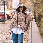 Одежда handmade. Livemaster - original item Jerseys: Beige oversize handmade cross-knit sweater. Handmade.