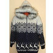 Одежда ручной работы. Ярмарка Мастеров - ручная работа Вязаная куртка Норвежский стиль, на молнии, с капюшоном. Handmade.