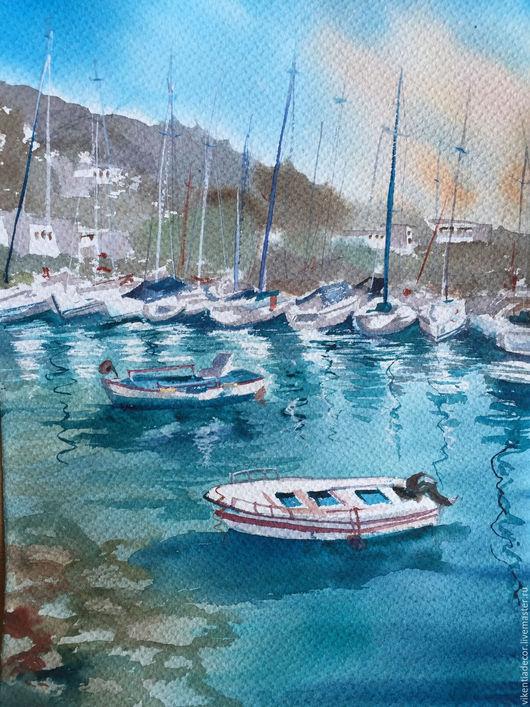 """Пейзаж ручной работы. Ярмарка Мастеров - ручная работа. Купить """"Бирюзовое лето"""", акварель. Handmade. Бирюзовый, лодки, яхты"""