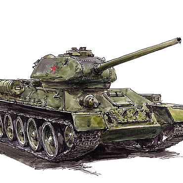 Картины и панно ручной работы. Ярмарка Мастеров - ручная работа Рисунок, танк Т-34-85. Handmade.