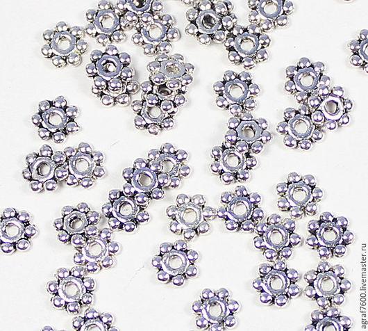 Для украшений ручной работы. Ярмарка Мастеров - ручная работа. Купить Рондели (спейсеры), 4 мм, цвет серебро, разделители. Handmade.