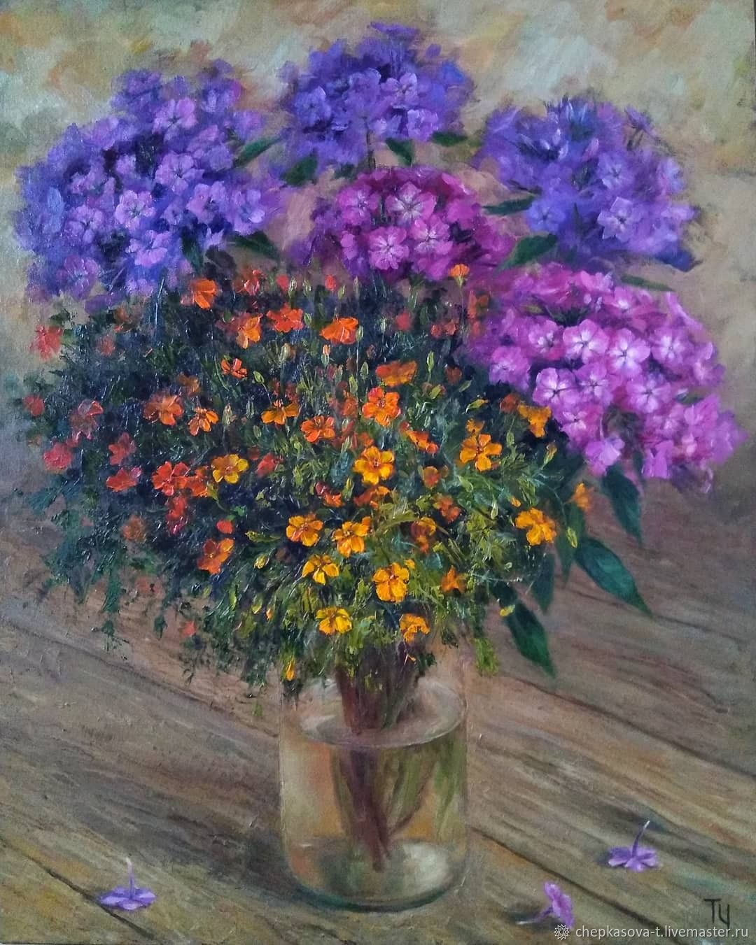 Phlox and marigolds. Two thousand nineteen. Oil painting, Pictures, Moscow,  Фото №1