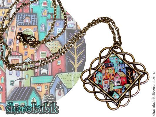 """Кулоны, подвески ручной работы. Ярмарка Мастеров - ручная работа. Купить Кулон """"Домики"""". Handmade. Разноцветный, картина, квадратный, город"""