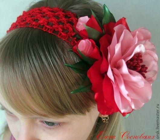 Диадемы, обручи ручной работы. Ярмарка Мастеров - ручная работа. Купить повязка с атласным цветком. Handmade. Розовый, цветок из ткани
