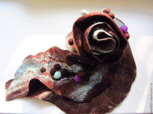 Шарфы и шарфики ручной работы. Ярмарка Мастеров - ручная работа. Купить Валяный шарф Мятное мороженное. Handmade. Бирюзовый