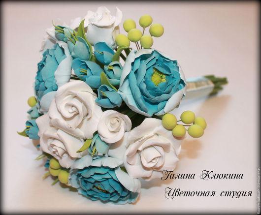 Свадебные цветы ручной работы. Ярмарка Мастеров - ручная работа. Купить Букет невесты из полимерной глины. Handmade. Бирюзовый