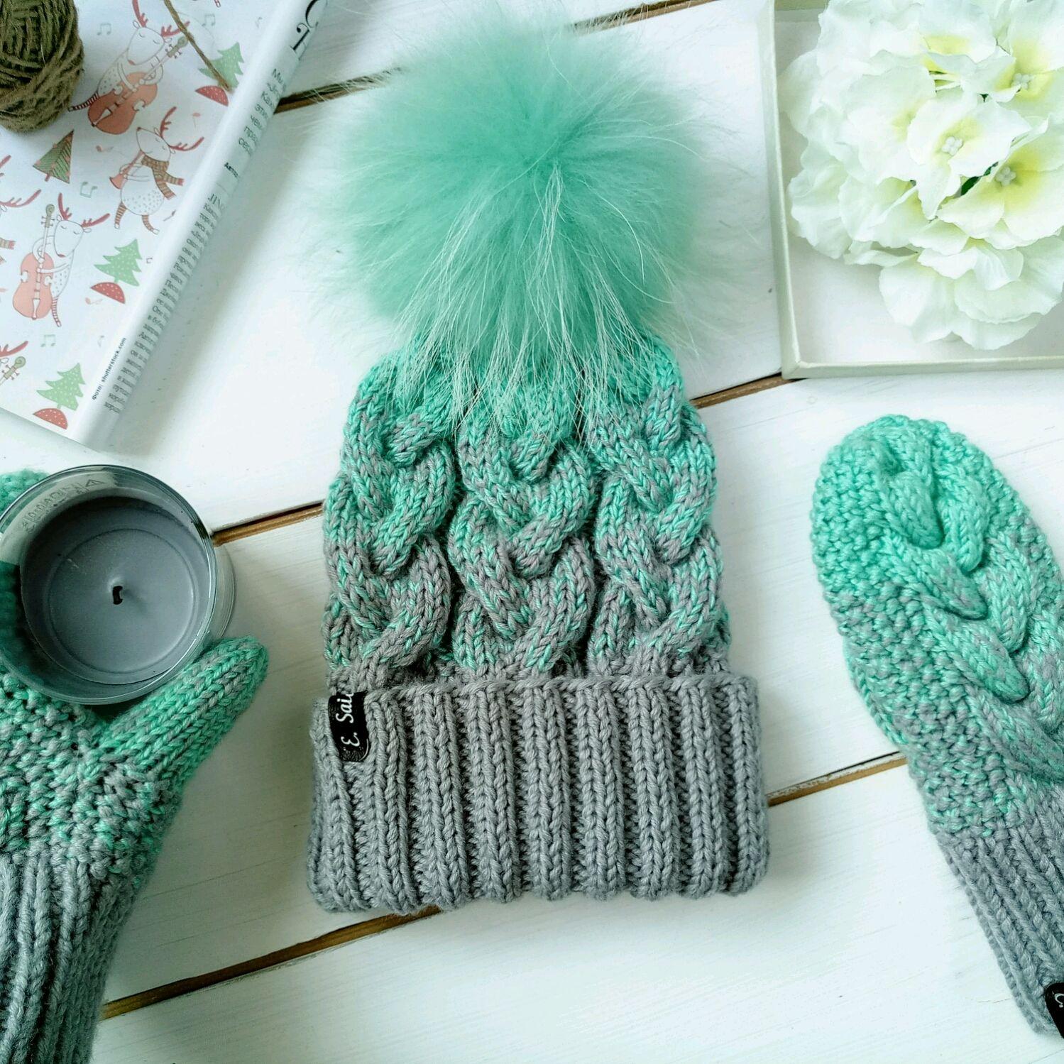 вязаная шапка зимняя градиент из серого в мятный купить в