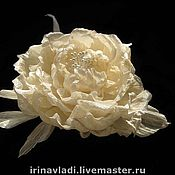 Украшения manualidades. Livemaster - hecho a mano Las flores de seda. Broche de horquilla de productos LÁCTEOS en la NUBE Indio de seda Dupion. Handmade.