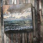 Картины и панно ручной работы. Ярмарка Мастеров - ручная работа картина акрилом Пляж с черным песком (сиреневый, бирюзовый, серый). Handmade.