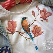 Одежда ручной работы. Ярмарка Мастеров - ручная работа Роспись футболки. Цветущая магнолия. Handmade.