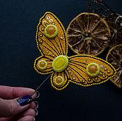 Украшения handmade. Livemaster - original item Embroidered butterfly brooch