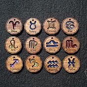 Украшения handmade. Livemaster - original item Medallions of wood and resin with zodiac signs. Handmade.