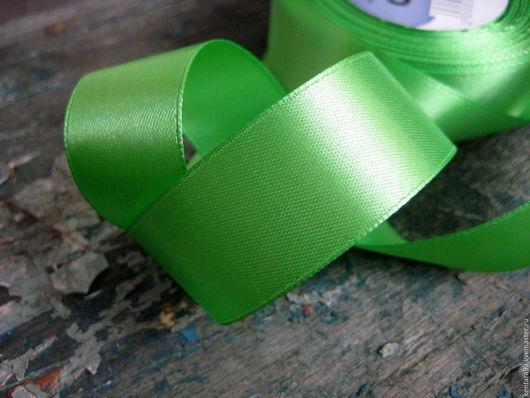 Шитье ручной работы. Ярмарка Мастеров - ручная работа. Купить Лента атласная Светло-Зеленая 2,5см. Handmade. Зеленый