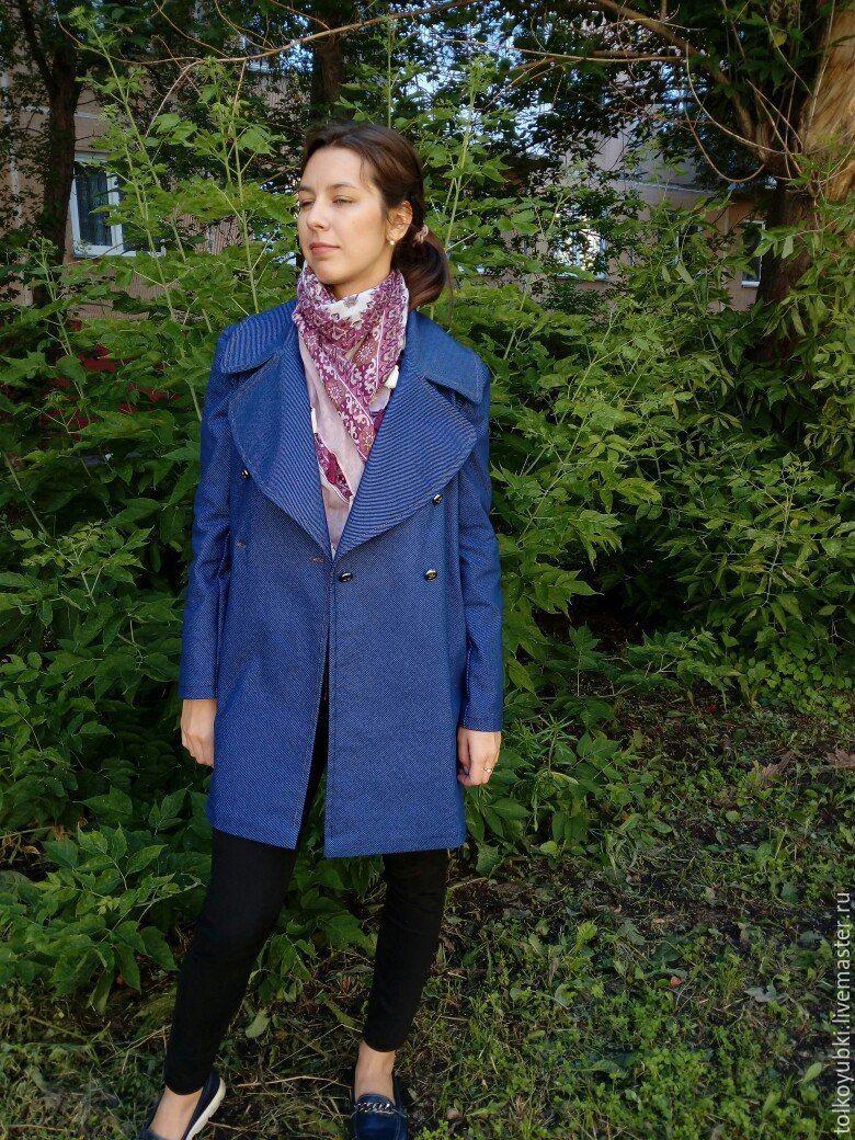 Пальто джинсовое синее двубортное, Пальто, Новосибирск,  Фото №1