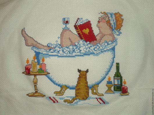 Юмор ручной работы. Ярмарка Мастеров - ручная работа. Купить вышивка для ванны. Handmade. Вышивка крестом, вышивка на заказ
