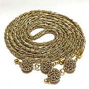 Украшения handmade. Livemaster - original item Lariat beaded light gold harness necklace waist tie with pendant. Handmade.