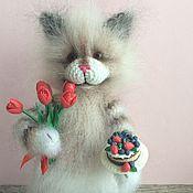 Куклы и игрушки handmade. Livemaster - original item Give the girls flowers.. 26смвязаная interior cat toy cat. Handmade.