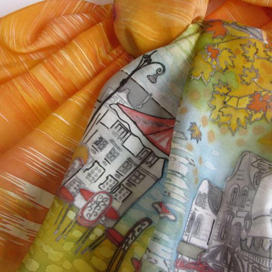 Шарфы и шарфики ручной работы. Ярмарка Мастеров - ручная работа. Купить Шелковый шарф Осень в Париже. Handmade. Купить батик