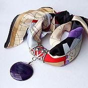 Украшения ручной работы. Ярмарка Мастеров - ручная работа Платок MIRO с подвеской диском из агата. Handmade.