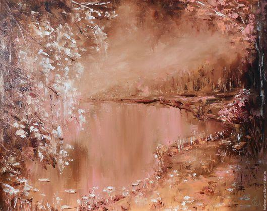 """Пейзаж ручной работы. Ярмарка Мастеров - ручная работа. Купить Картина маслом """"Сказочный лес"""",40х50 (пейзаж,лес,озеро). Handmade."""
