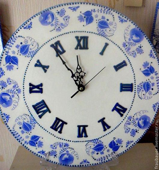 """Часы для дома ручной работы. Ярмарка Мастеров - ручная работа. Купить Часы """" Орнаменты гжели"""". Handmade. Синий"""
