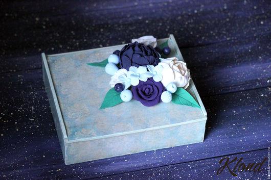 Шкатулки ручной работы. Ярмарка Мастеров - ручная работа. Купить Шкатулка деревянная с цветами из полимерной глины. Handmade. Deco, шкатулка