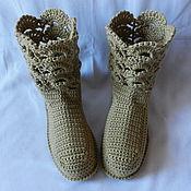"""Обувь ручной работы. Ярмарка Мастеров - ручная работа """"Ажур"""" топленое молоко, (38-39 р-р) сапожки для дома (подошва валяная). Handmade."""