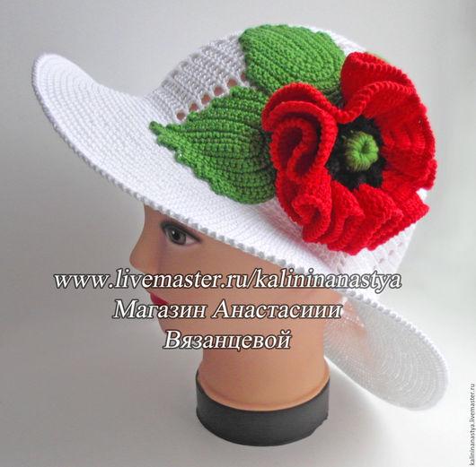 Шляпы ручной работы. Ярмарка Мастеров - ручная работа. Купить Шляпа с маком. Handmade. Белый, шляпа с большими полями