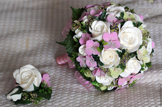 Свадебные цветы ручной работы. Ярмарка Мастеров - ручная работа. Купить Свадебный букет с гортензией. Handmade. Бледно-розовый, ленты