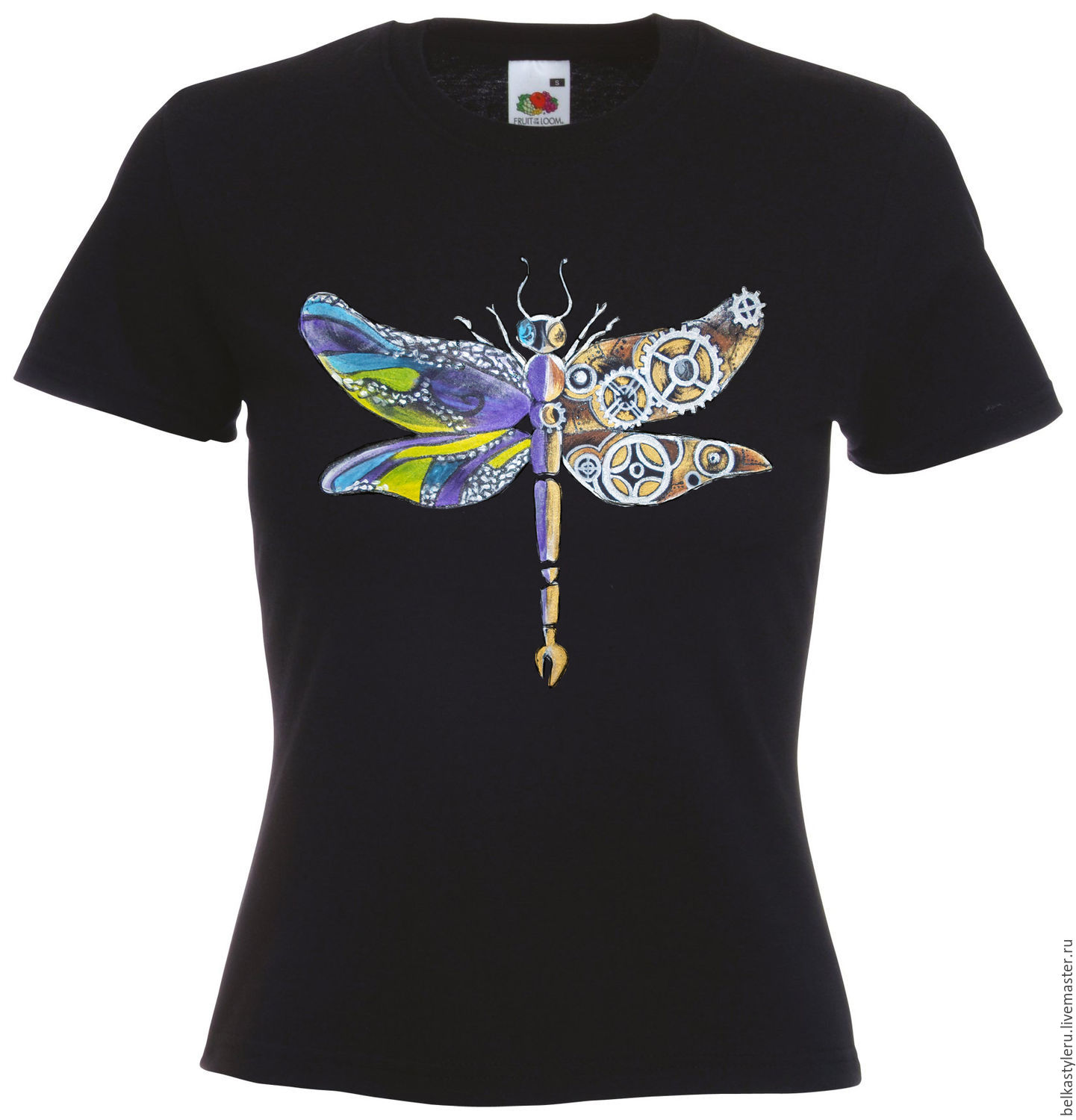 Design t shirt hand made - Steampunk Handmade T Shirt Hand Painted Dragonfly Steampunk Belkastyle Handmade And Design