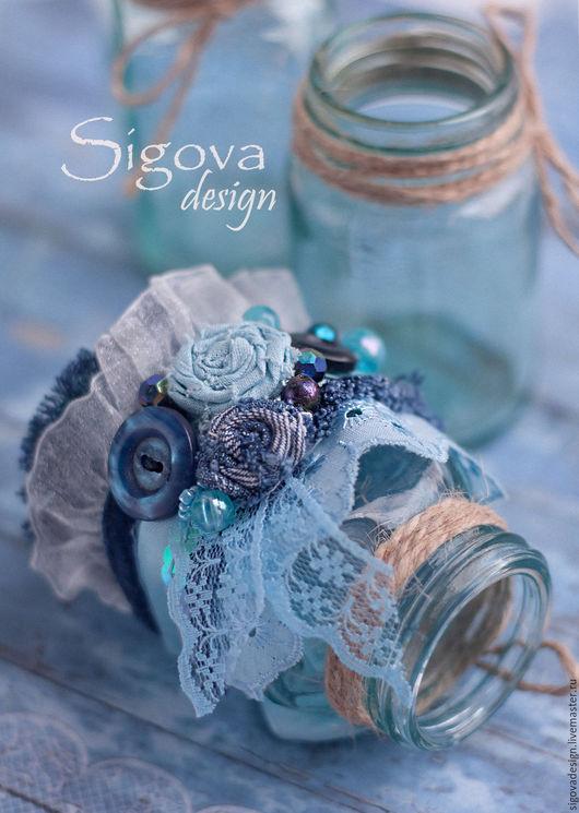 """Браслеты ручной работы. Ярмарка Мастеров - ручная работа. Купить текстильный браслет """"Весенняя капель"""". Handmade. Синий, текстильный"""