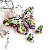 Украшения handmade. Livemaster - original item A set of jewelry glass Butterfly pilocka. Fusing decoration. Handmade.