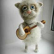 Куклы и игрушки handmade. Livemaster - original item Vasily the cat felt, with a guitar. Handmade.