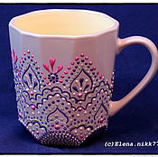 Посуда handmade. Livemaster - original item Purple Cup, Cup for tea, spot painting Cup painting. Handmade.