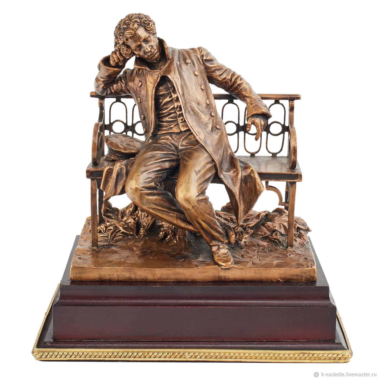 Пушкин на скамейке подарочная статуэтка А.С. Пушкина бронза, Статуэтка, Москва,  Фото №1