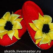 """Обувь ручной работы. Ярмарка Мастеров - ручная работа тапочки """"Подсолнухи"""". Handmade."""