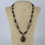 Украшения handmade. Livemaster - original item Necklace with a pendant made of tiger`s eye stones