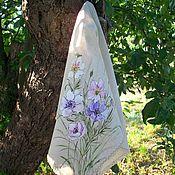 handmade. Livemaster - original item Linen kerchief with hand-painted Tenderness. Handmade.