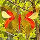 """Элементы интерьера ручной работы. Ярмарка Мастеров - ручная работа. Купить """"Бабочка"""" для цветника и/или подвеска. Handmade. Витраж, медь"""