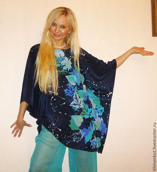 Большие размеры ручной работы. Ярмарка Мастеров - ручная работа. Купить блуза-  Метель из листьев. Handmade. Тёмно-синий, блузка