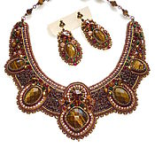 Jewelry Sets handmade. Livemaster - original item Necklace with garnet and tiger`s eye. Handmade.